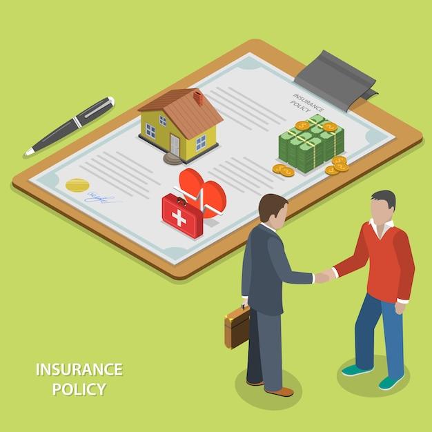 Страховой полис сделки плоский изометрии. Premium векторы