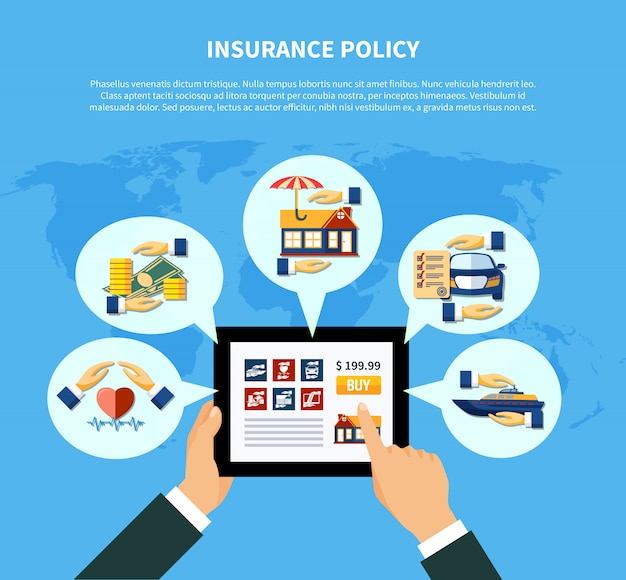 Insurance policy services concept Free Vector