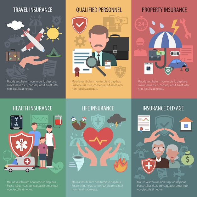 Insurance poster set Free Vector