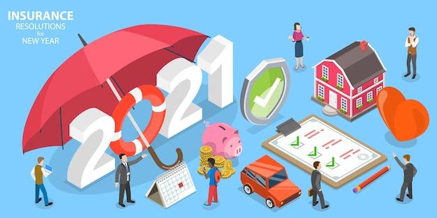 新年の保険決議、家族健康保険プラン。等尺性フラット概念図。 Premiumベクター