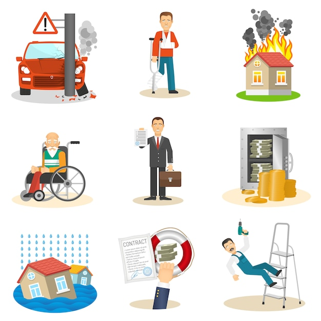Insurance and risk icons Free Vector