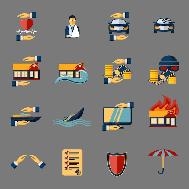 Insurance security icons elements set Free Vector