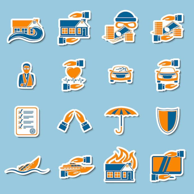 Insurance security stickers collection Free Vector