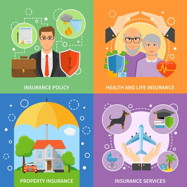 Insurance services 4 flat icons square Free Vector