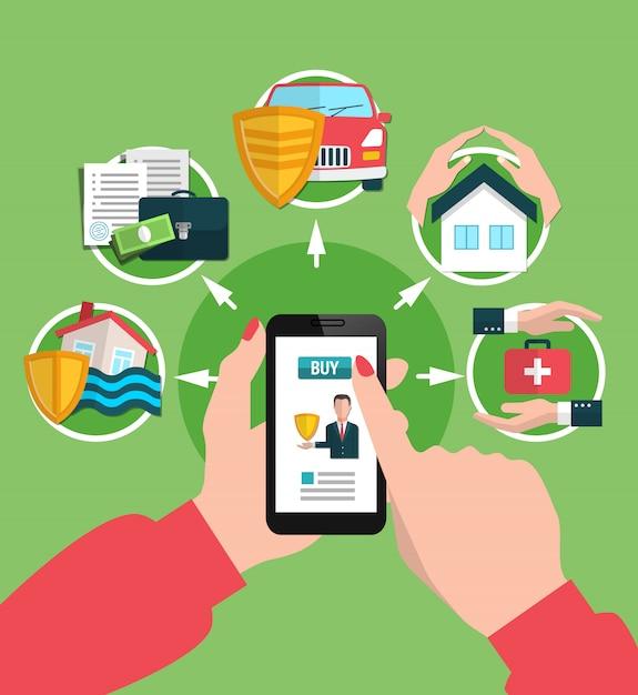 オンラインイラストを購入する保険サービス 無料ベクター