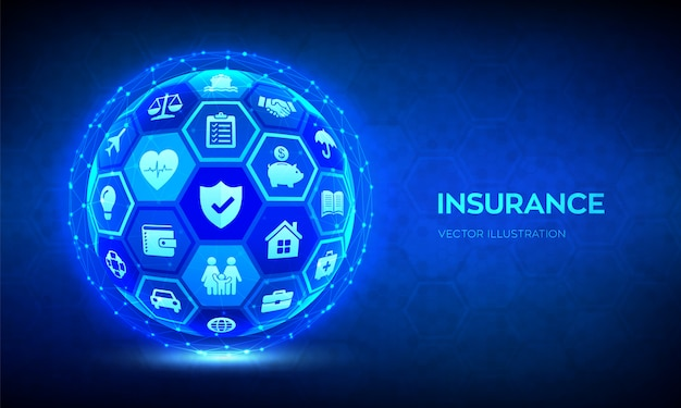 Insurance services concept. abstract 3d sphere or globe ...