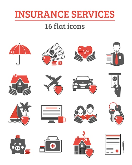 Insurance services icons set Free Vector