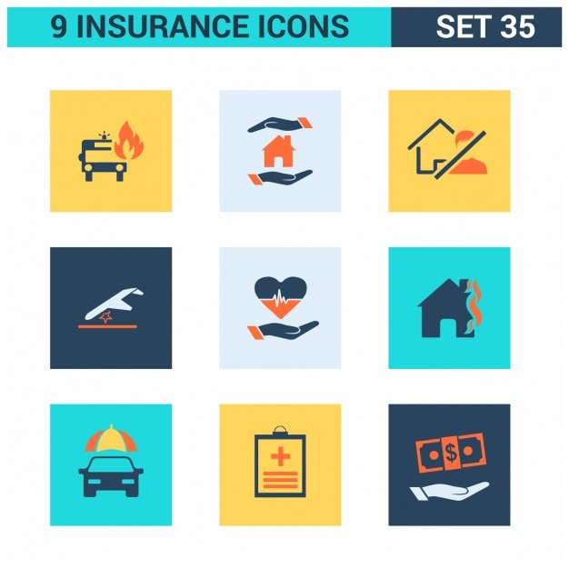 Direct General Auto Insurance >> Insurance Square Icons Set Vector | Free Download