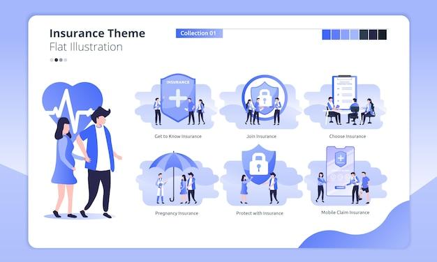 Insurance theme in a flat illustration Premium Vector