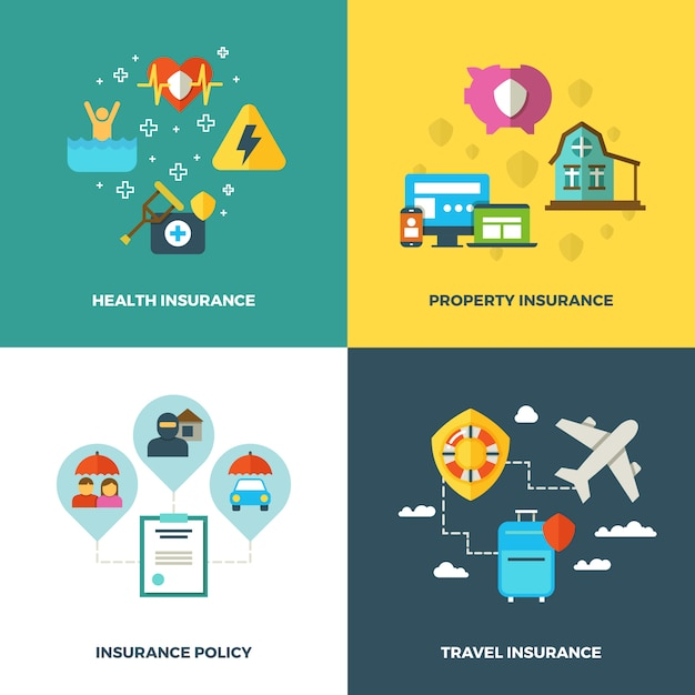 Insurance vector flat background concepts Premium Vector
