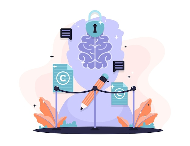 Intellectual property concept with brain Free Vector