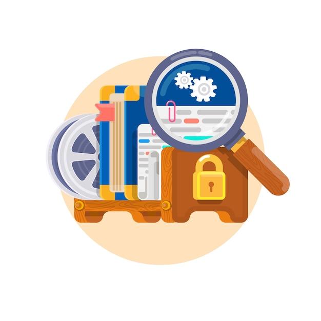 知的財産権。ソフトウェア、書籍、映画、特許などの著作権の概念。特許とライセンスの法的保護。ベクトル図 Premiumベクター