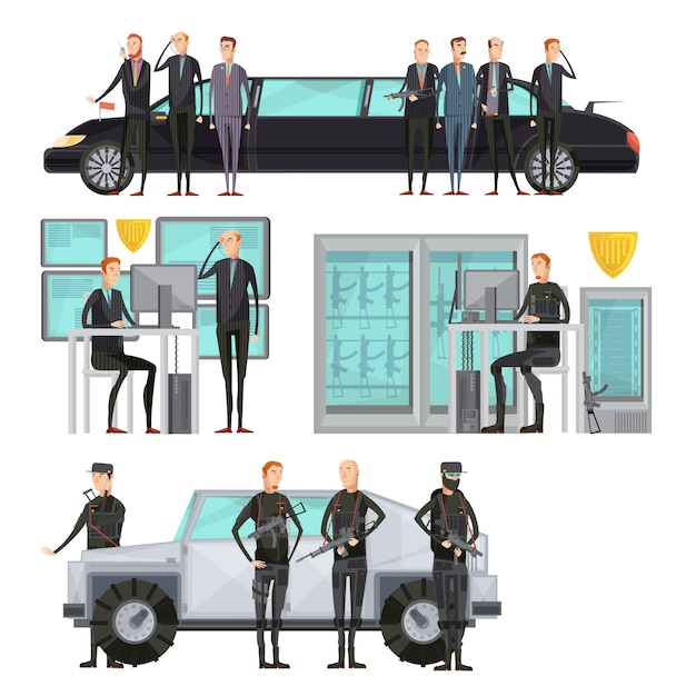 Intelligence agency colored flat composition with security and cars protection and scanning vector illustration Free Vector