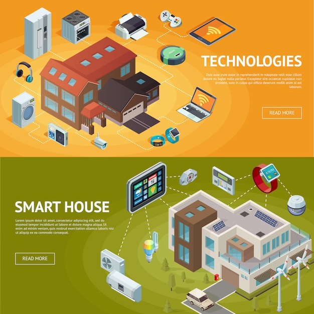 Intelligent house isometric banners Free Vector