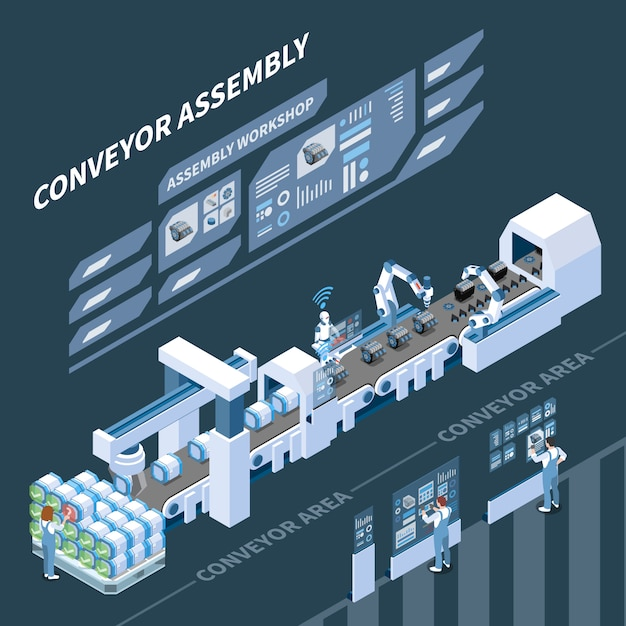 Intelligent manufacturing isometric composition with holographic control panel of assembly conveyor on dark Free Vector