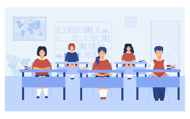 Intelligent pupils studying in classroom Free Vector