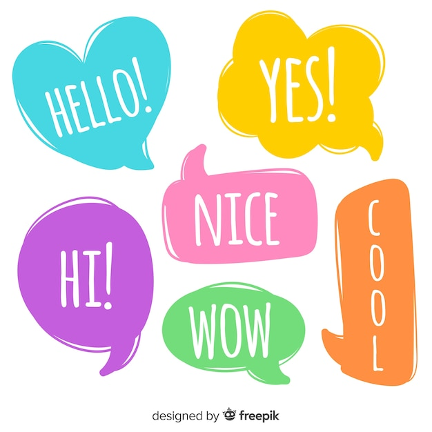 Intense colorful speech bubbles with expressions Free Vector
