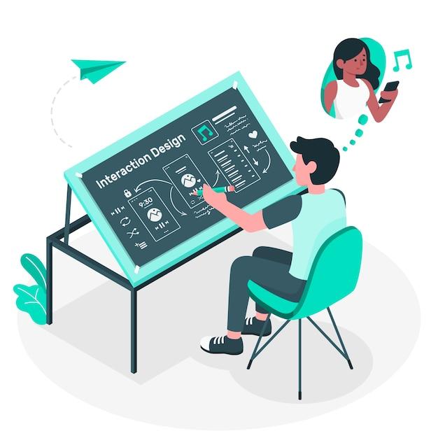 Illustrazione di concetto di design di interazione Vettore gratuito
