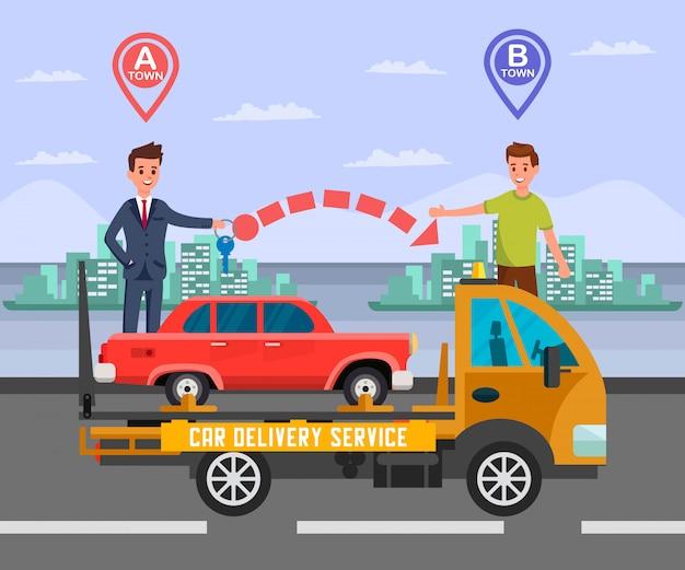 Intercity car delivery service flat illustration Premium Vector