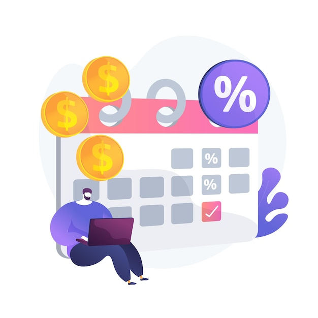 Interest on deposit, profitable investment, fixed income. regular payments, recurring cash receipts. money recipient with calendar cartoon character. vector isolated concept metaphor illustration. Free Vector