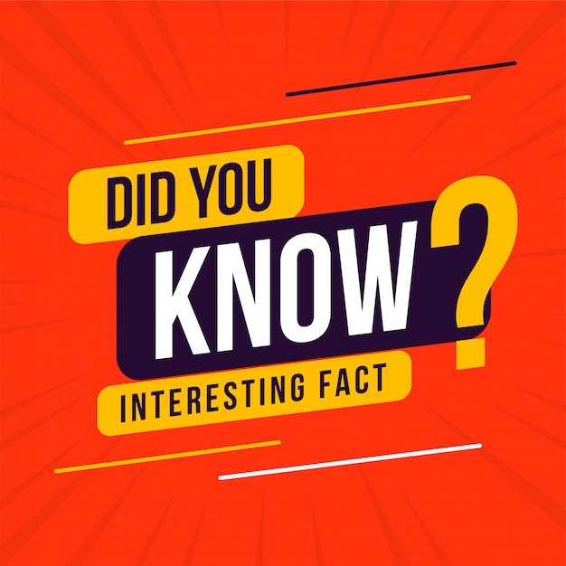 Interesting fact did you know design Free Vector