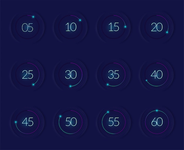 Interface countdown set with modern technology symbols realistic isolated Free Vector