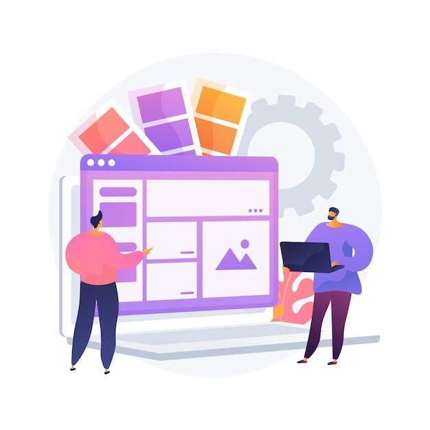 인터페이스 디자인 추상적 인 개념 그림입니다. 사용자 인터페이스 엔지니어링, 시각적 요소, 웹 사이트 및 응용 프로그램 만들기, 반응 형 디자인, 사용성 테스트, 계층 구조 무료 벡터