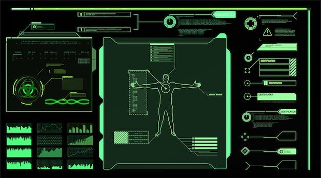 인터페이스 요소 Hud, Ui, Gui. 설명 선 제목이 설정되었습니다. 미래의 설명 선 레이블, 정보 표시 줄 막대 및 최신 디지털 정보 상자 레이아웃 템플릿. Hud 스타일의 설명 선 제목 프리미엄 벡터