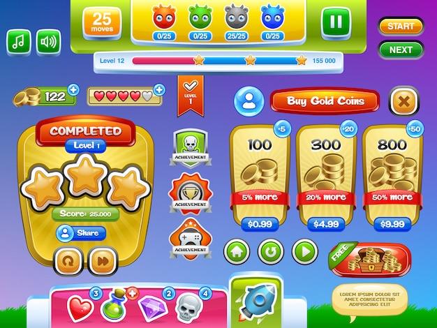 モバイルゲームまたはアプリ用に設定されたインターフェイスゲームとボタン。イラスト。簡単に編集できます。 Premiumベクター
