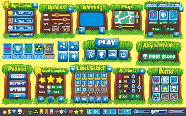 Interface Game Design All Screens You Need For Creating D Game - 2d game design