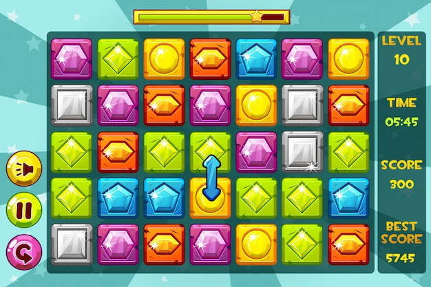 Интерфейс gems match3 games. разноцветный драгоценный камень, значки игровых активов и кнопки Premium векторы