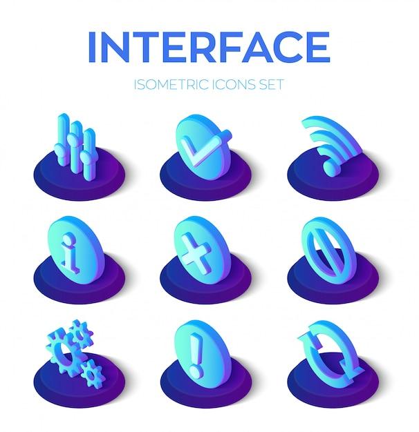 インターフェイスのアイコンを設定します。モバイルおよびweb用のユーザーインターフェイス3dアイソメトリックアイコン。 Premiumベクター