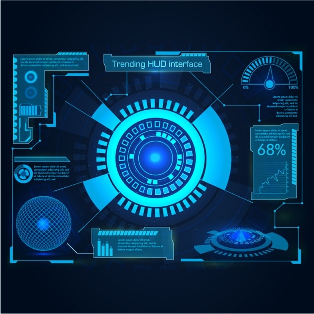 Interface in blue tones Premium Vector
