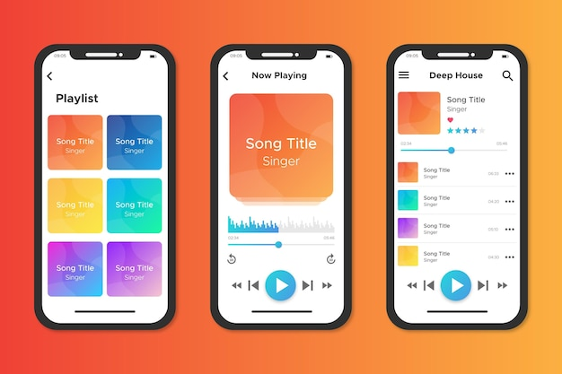 Interface for music player app Free Vector