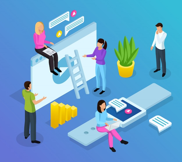 Interface office isometric composition Free Vector