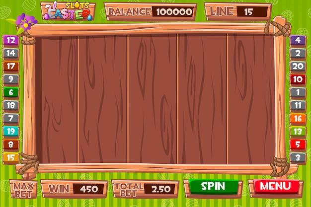Интерфейсный игровой автомат в деревянном стиле на праздник пасхи. полное меню графического пользовательского интерфейса и полный набор кнопок для создания классических игр казино. Premium векторы