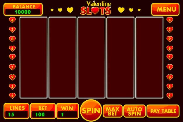 Интерфейс игрового автомата в стиле святого валентина красного цвета. полное меню графического интерфейса пользователя и полный набор кнопок для создания классических игр казино. Premium векторы