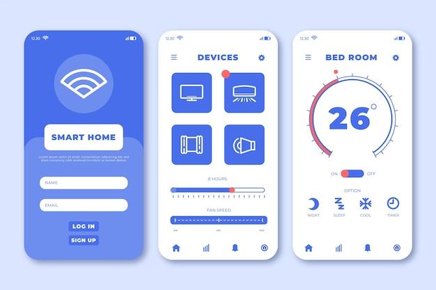 Interfaccia per l'applicazione domestica intelligente Vettore gratuito