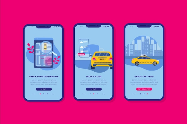 Interface for taxi application Free Vector