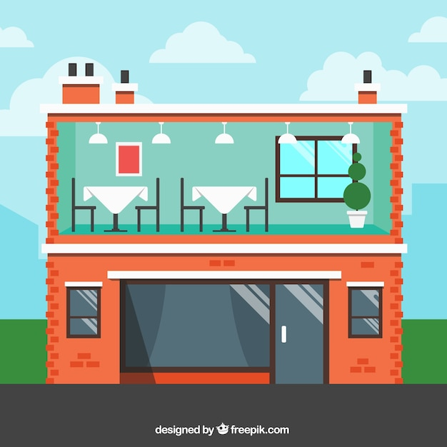 Interior and exterior building restaurant in flat design for Flat exterior design