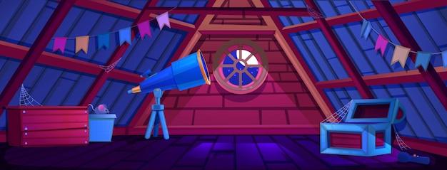 The interior of the attic of dark night Premium Vector