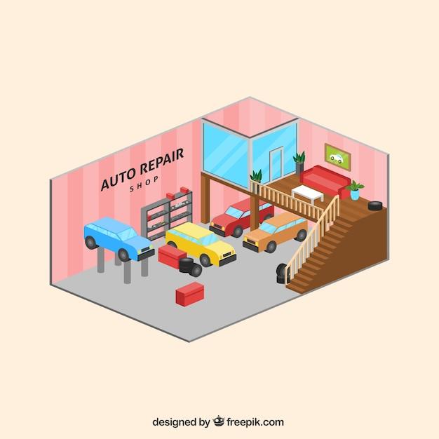 Interno del negozio di riparazione auto in stile isometrico Vettore gratuito