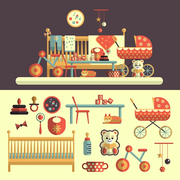 Interior of baby room and set of toys for kids. vector illustration in flat style design. isolated elements Premium Vector