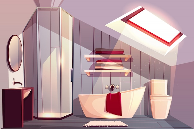 Interior of bathroom in attic. modern restroom with glass shower cabin and shelves for towels Free Vector