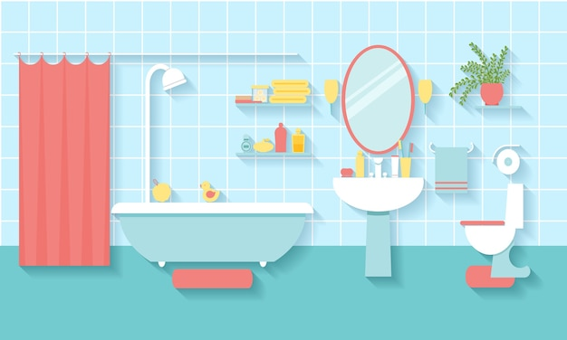 Interior bathroom in flat style. mirror and toilet, washbasin and furniture. Free Vector