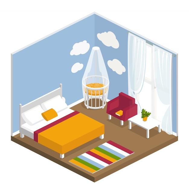Interior bedroom in isometric Premium Vector