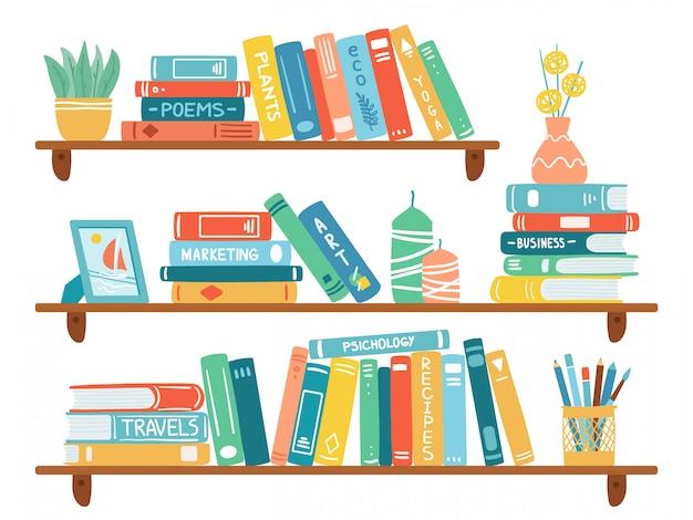 Интерьерные книжные полки. книги на книжной полке, куча учебников, школьное образование или полка книжного магазина, комплект иллюстрации книжного шкафа библиотеки. школьный архив и книжный магазин, книжный шкаф и книжная полка Premium векторы