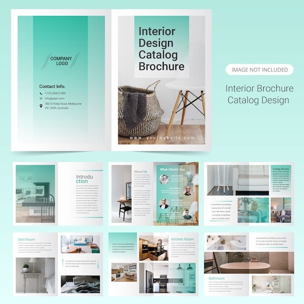Interior brochure template design Premium Vector