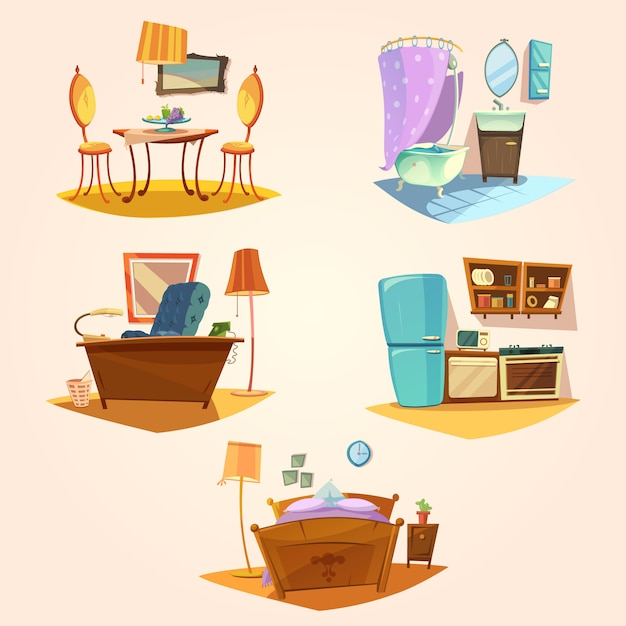 Interior cartoon retro set Free Vector