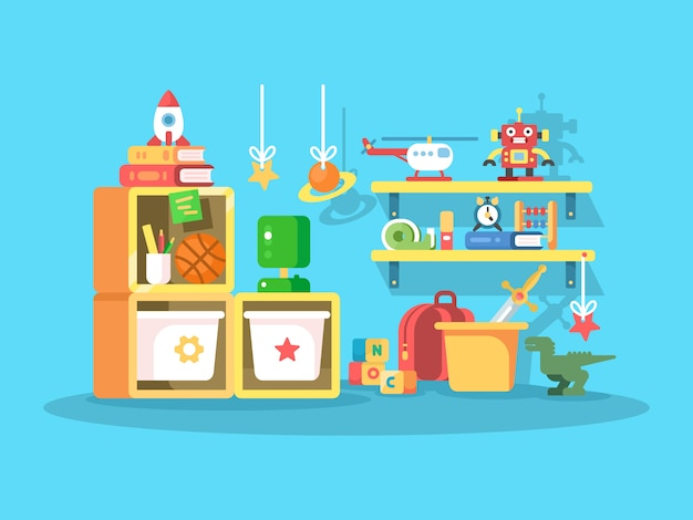 Interior of child room with the ball toys, robot, helicopter. vetor illustration Premium Vector